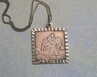 Vintage Sterling Silver Saint Christopher Religious Medal Pendant, Sterling Religious Medal, Old Sterling St. Christopher Medal (#3295)
