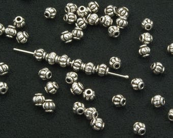 4mm Fluted Pewter Beads Antiqued Silver Plated - 50