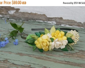 Memorial Day SALE Yellow Shell Collage Vintage head band Hair Acessory Piece Fascinator Green White Corsage  Bride Fairy