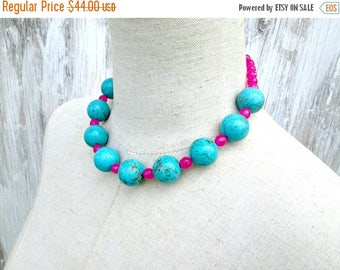 XMAS in JULY SALE Turquoise Pink Beaded Chunky Necklace, Big Round Beads Choker