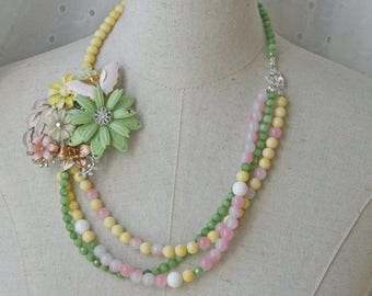 XMAS in JULY SALE Pastel Beaded Multi Strand Flower Brooch Collage Necklace