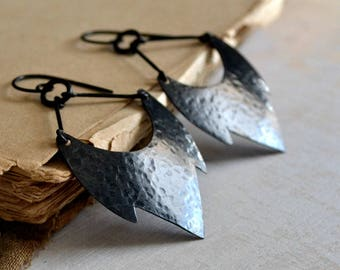 Rustic copper earrings, gift for her, hammered black copper  - Shadowland