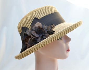 Straw Kettle Brim Hat With Flower Trim / Straw Brim Hat / Women's 2 Inch Brim Straw  Hat / Summer Straw Hat / Retro Style Straw Brim Hat