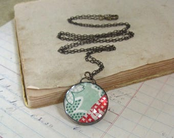 Quilt Jewelry, Glass Soldered Fiber Pendant