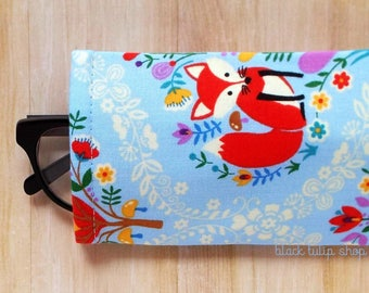 Red Fox Eyeglasses Cases Sunglasses Case Sleeve Soft Lightweight Reading Glasses Cover Blue Owls Cute Eyeglass Case Soft Glass Holder Pouch