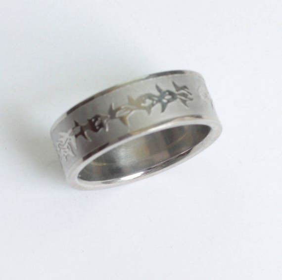 Fish Design Ring Abstract Pattern Stainless Steel Size 10