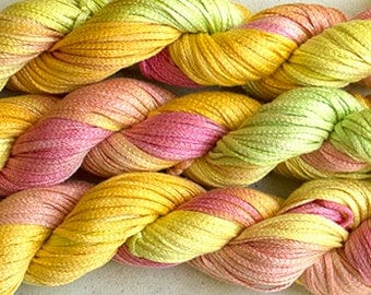 Junco, Rayon Tape Ribbon, Hand dyed  104 yds - Citrus