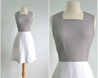 60s Vintage Dress A-line Brown and White Stripes 70s Mini Dress - small