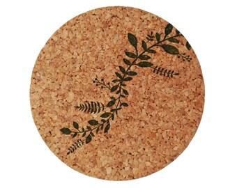 Leaf Vine Cork Coasters set of 4