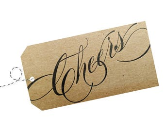 Cheers Gift Tag on Natural Recycled Chipboard pack of 4