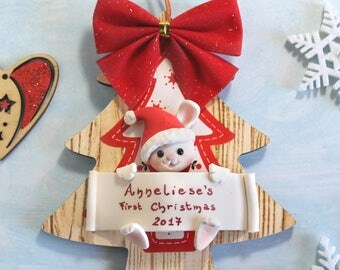 Personalized baby's first Christmas ornament - wood tree - Bunny, penguin or owl - gift children newborn kid room decoration expecting mum