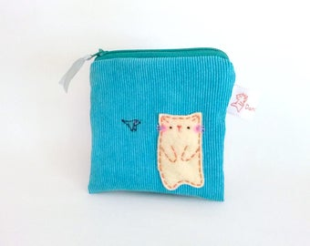 Zipper Pouch, Cat Zipper Pouch, Cat Coin Purse, Cute Pouch, Small Pouch, Kawaii Pouch, Cat and Fish, Children's Coin Purse, Cute Pouch - Cat
