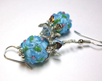 Aqua Lampwork Earrings, Aqua Flowers, Wedding Jewelry, Spiritcatdesigns , Antique Silver,FREE SHIPPING