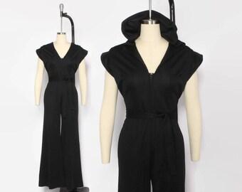 Vintage 70s Bellbottom JUMPSUIT / 1970s Black Hooded Zip Front Belted Romper