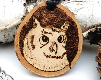 Wood Burned Owl Ornament,  Birch Tree Slice Ornament, Rustic Wood Christmas Ornament, Custom Ornament, Personalized Ornament