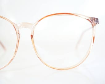 Vintage Pink Wayfarer Glasses Women Round Oversized Eyeglasses Geek Chic Pastel Clear Transparent 80s Eighties Glam Rocker Eighties