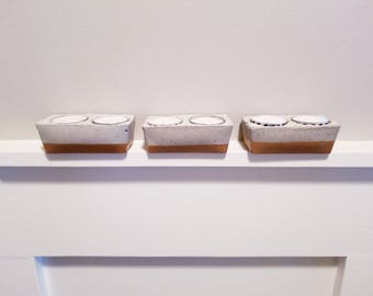 SET OF THREE tea lite candle holders, cement, gold trim, modern, rustic, industrial style, candle holders, home decor, table decor, candles