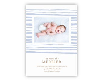 Holiday Newborn Birth Announcement | Printable Template, Christmas Newborn Photo Card, Holiday Newborn Announcement, Instant Download