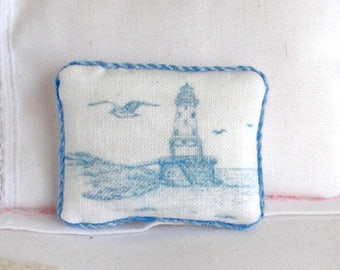 1:12 Pillow - Seagull and Lighthouse - Handmade Dollhouse Scale Miniature - Shabby Cottage Chic *Free Shipping*