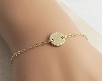 Dainty Gold Dot Bracelet, 14k gold fill, textured disc skinny bracelet layering