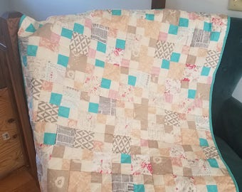 LeVintage Chic Handmade Quilt Throw One of a Kind Scrappy Patchwork Ready to Ship Turquoise Multi Colors Pastels Quilt for Sale
