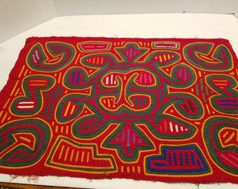 "Mola 3  layers, Abstract design Colorful  frame or make a pillow 1950's Hand sewn Kuna Indians - Panama San Blas Islands 20.5"" x 13.5"""