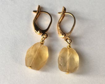 Faceted citrine earrings, gold plated leverback earrings with genuine citrine stones, november birthstone jewelry