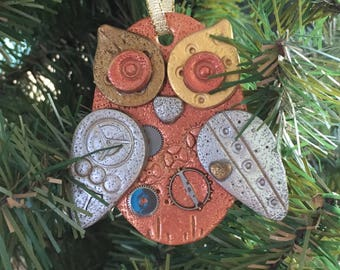 Steampunk Owl Holiday Ornament - Industrial Style Bird Animal Mixed Media Decor style 5