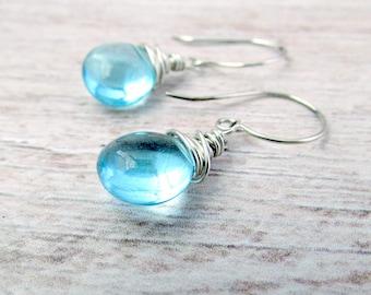 Womens Gemstone Earrings - Sterling Quartz Earrings - Womens Quartz Earrings - Womens Silver Dangle Earrings - Aqua Blue Quartz Earrings