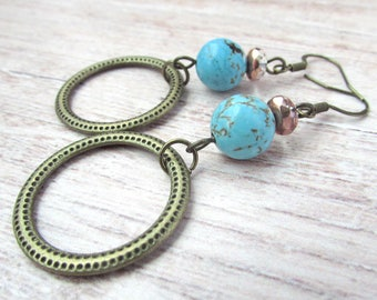 Womens Boho Turquoise Earrings - Womens Gemstone Earrings - Womens Bohemian Hoop Earrings - Boho Brass Hoop Earrings - Turquoise Earrings