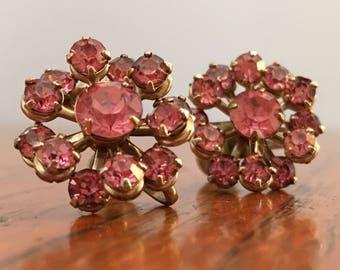 Small Vintage Pink Rhinestone Earrings, costume earrings, vintage screw back earrings, retro earrings, clip on earrings
