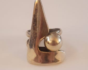 Vintage 950 Silver Triangle & Ball Modernist Ring Size 6 1/2 circa 1960