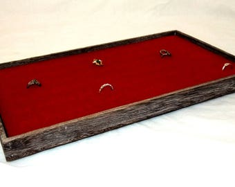 Rustic Antique Coffee Color Wood Jewelry Tray With 72 Slot Red Velvet Ring, Cufflink, Post Earring Insert