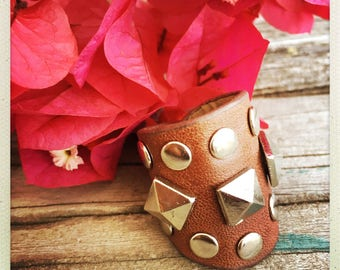 Leather Studded Wrap Ring