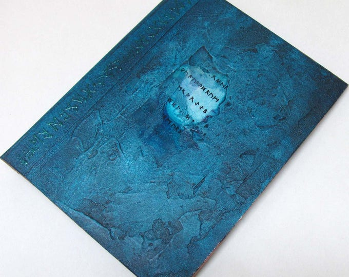Handmade Refillable Journal Distressed Turquoise Runes textured 8x6 Original travellers notebook hardcover fauxdori