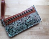 Southwestern embossed leather bag in Mint, zipper pouch, leather clutch / wristlet, gift for Mom, Birthday gift, Iphone case