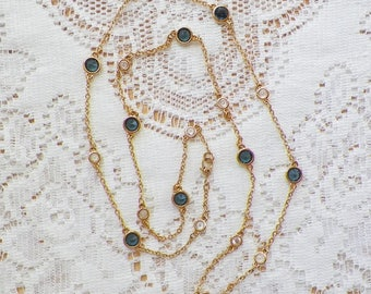 Delicate Monet Bezel Set Clear and Sapphire Blue Glass Chain Necklace