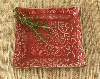 Jewelry Dish, Ring Dish, Trinket Dish, Handmade Plate, Decorative Square Ceramic Plate, Ruby Red, Gift for Her, Bridesmaid Gift, 367