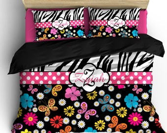 Safari Summer Zebra and Multi Color Floral Custom Personalized Bedding- Available Twin, Queen or King size