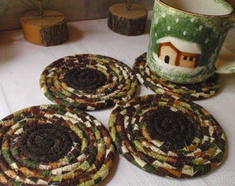 Chocolate Brown, Tan, Cream and Green Coiled Fabric Coasters - Set of 4 Absorbent Coasters Handmade by Me