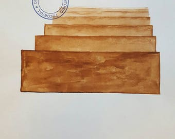 ANTONIO TOCORNAL #387 Floating Planks Ascending Steps Stairway to Heaven Brown Sepia Vintage Watercolor Painting Artist Signed Eclectic Art