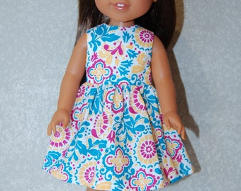 """Dress for 14"""" Wellie Wishers or Melissa & Doug Doll Clothes turquoise-pink tkct1135 READY TO SHIP"""