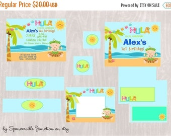 ON SALE Digital Luau 1st Birthday Boy Pool Party Invitation with Printable Party Pack DIY
