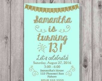 ON SALE Digital Aqua and Gold Glitter Birthday Girl Fancy Party Invitation Personalized Printable Any Age