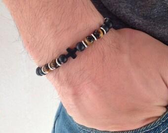 Cross bracelet - Black onyx matte and tiger eye beads - Greek jewelry - For men or women