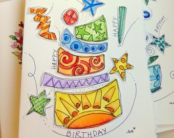 "Dancing Birthday Cake Wild Watercolor Original Card ""Big Card"" 5x7 With Matching Envelope  betrueoriginals"
