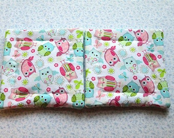 marked down was 9 now 6 pink and blue owls hand quilted set of 2 potholders hot pads