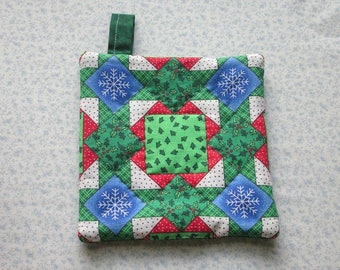 country christmas squares vintage fabric hand quilted insulated potholder hot pad with loop to hang
