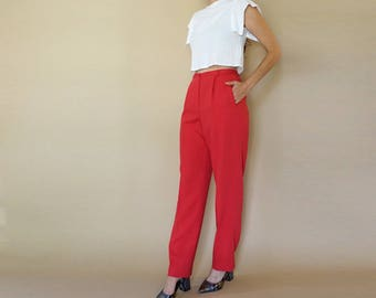 vintage ARMANI cranberry crepe wool HIGH WAIST trousers 8