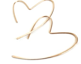 Solid Gold Heart Hoops. Solid 14k gold Heart Hoop Earrings. Large Gold Heart Earrings. Open Heart Hoop Dangle Earrings. Luxury Jewelry